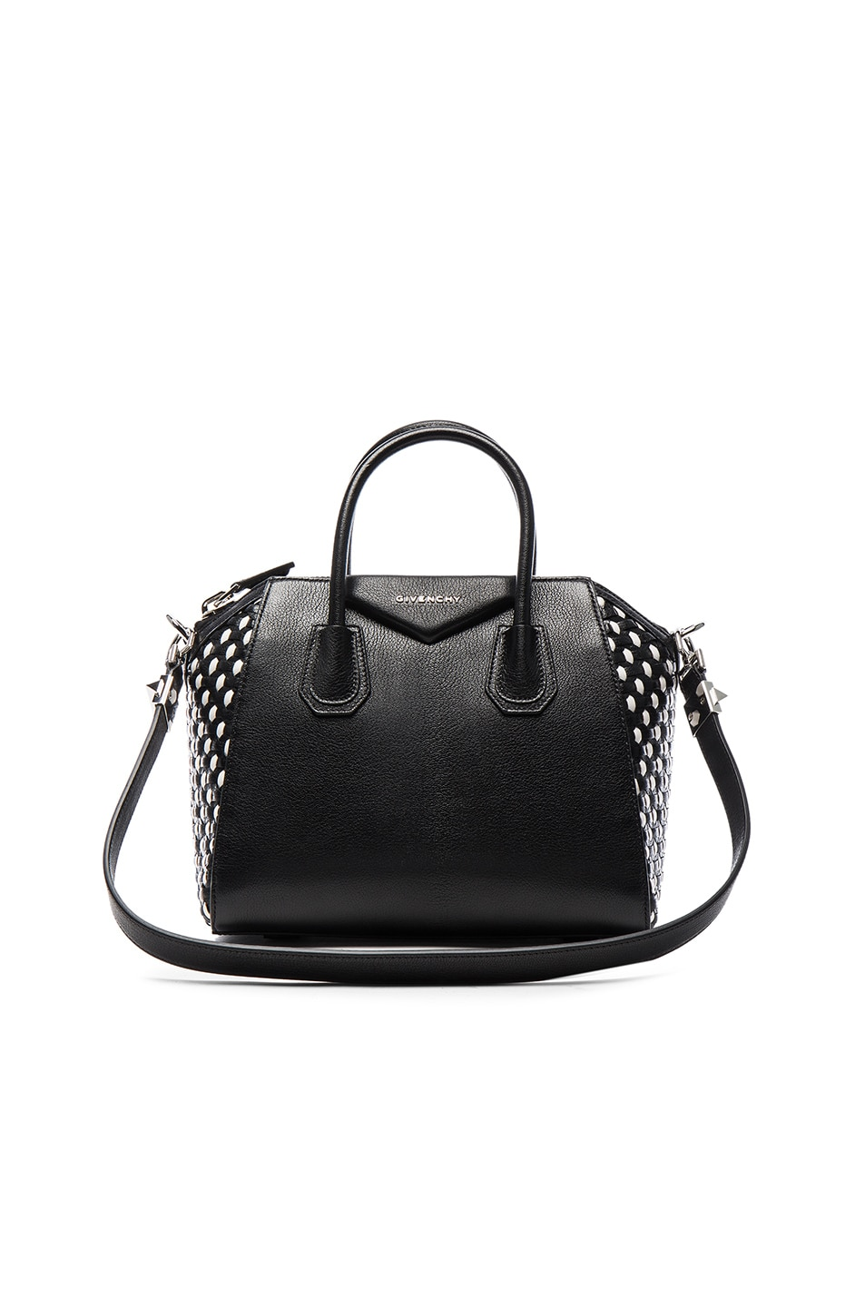 Image 1 of GIVENCHY Small Woven Leather Antigona in Black & White