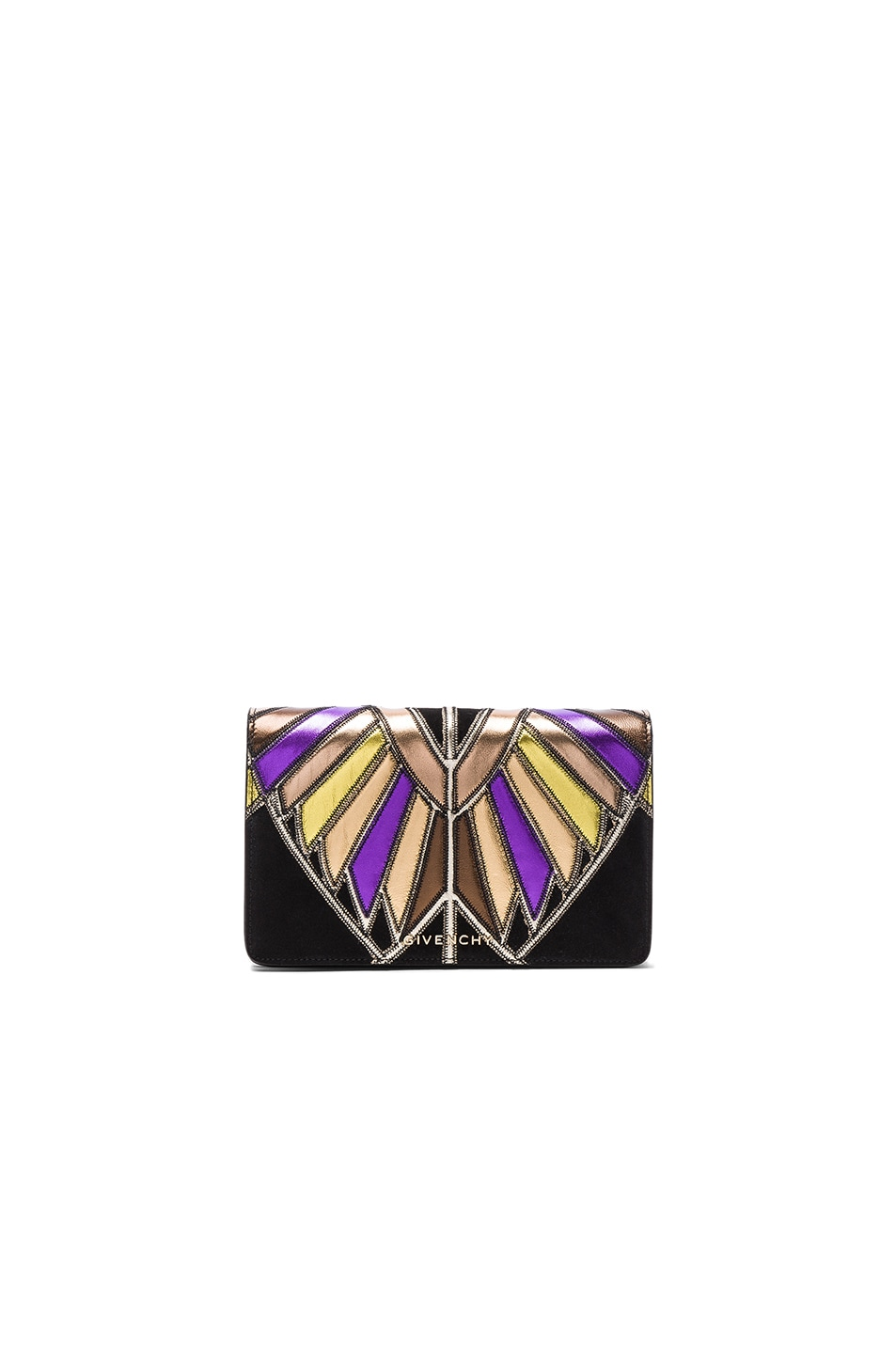 Image 1 of Givenchy Wings Leather Patchwork Pandora Chain Wallet in Multi