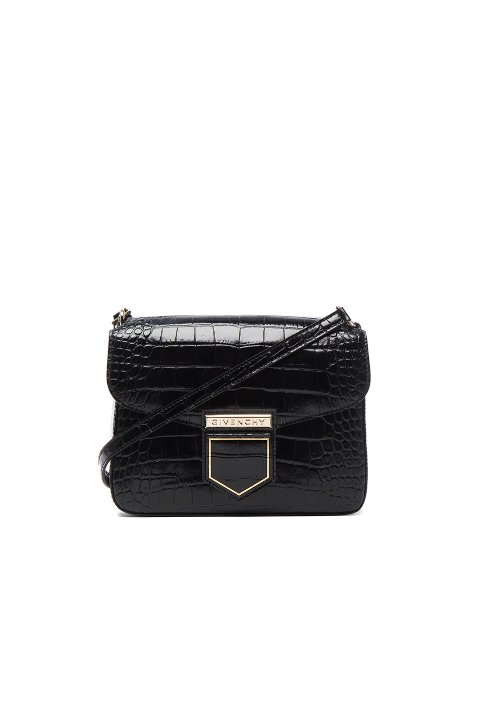 Image 1 of Givenchy Small Crocodile Embossed Leather Nobile in Black