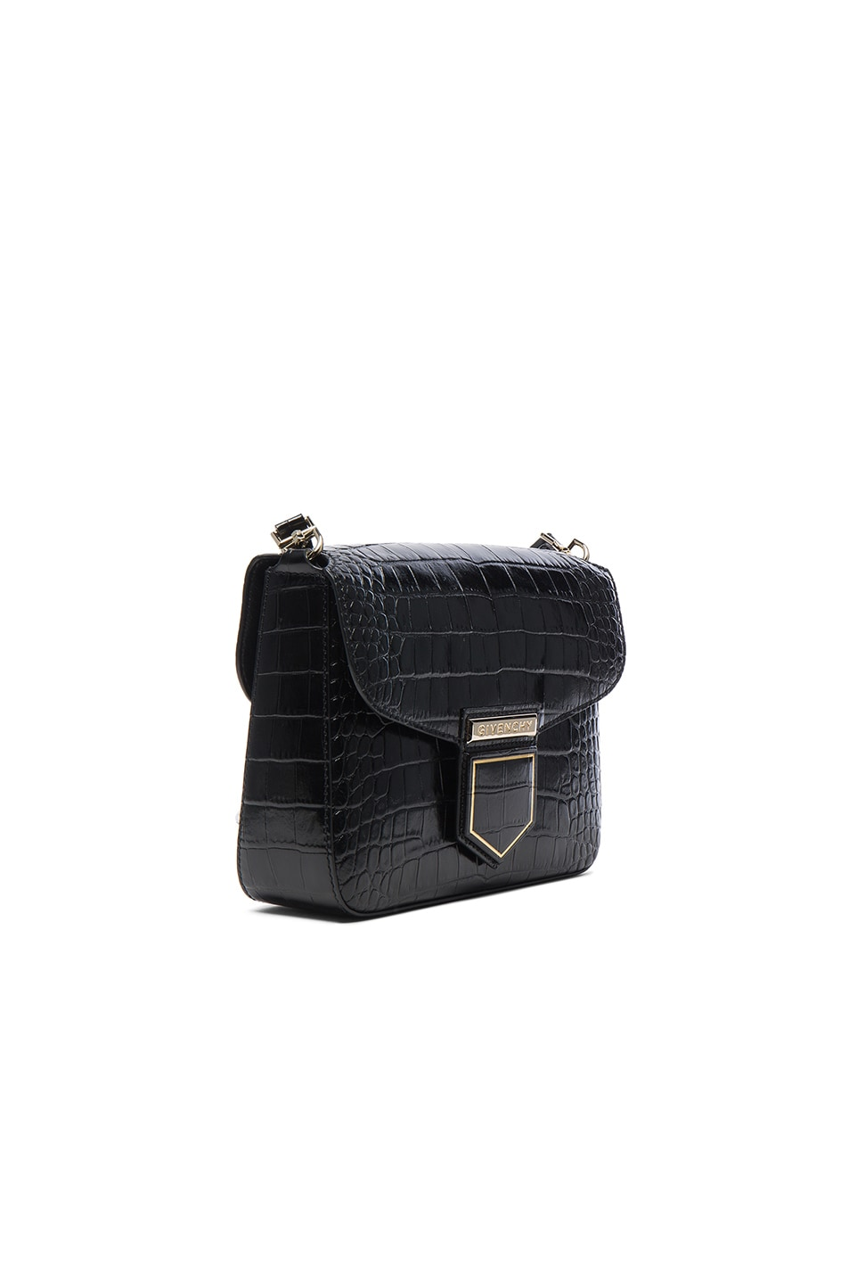 Image 3 of Givenchy Small Crocodile Embossed Leather Nobile in Black