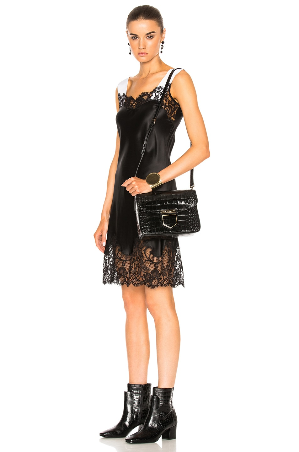 Image 6 of Givenchy Small Crocodile Embossed Leather Nobile in Black