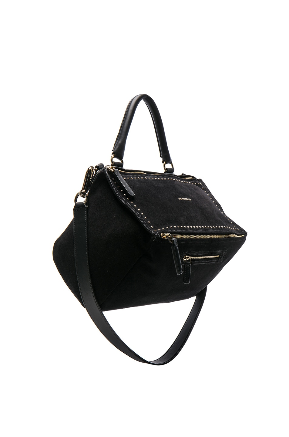 Image 1 of Givenchy Medium Stud Detail Suede Pandora in Black