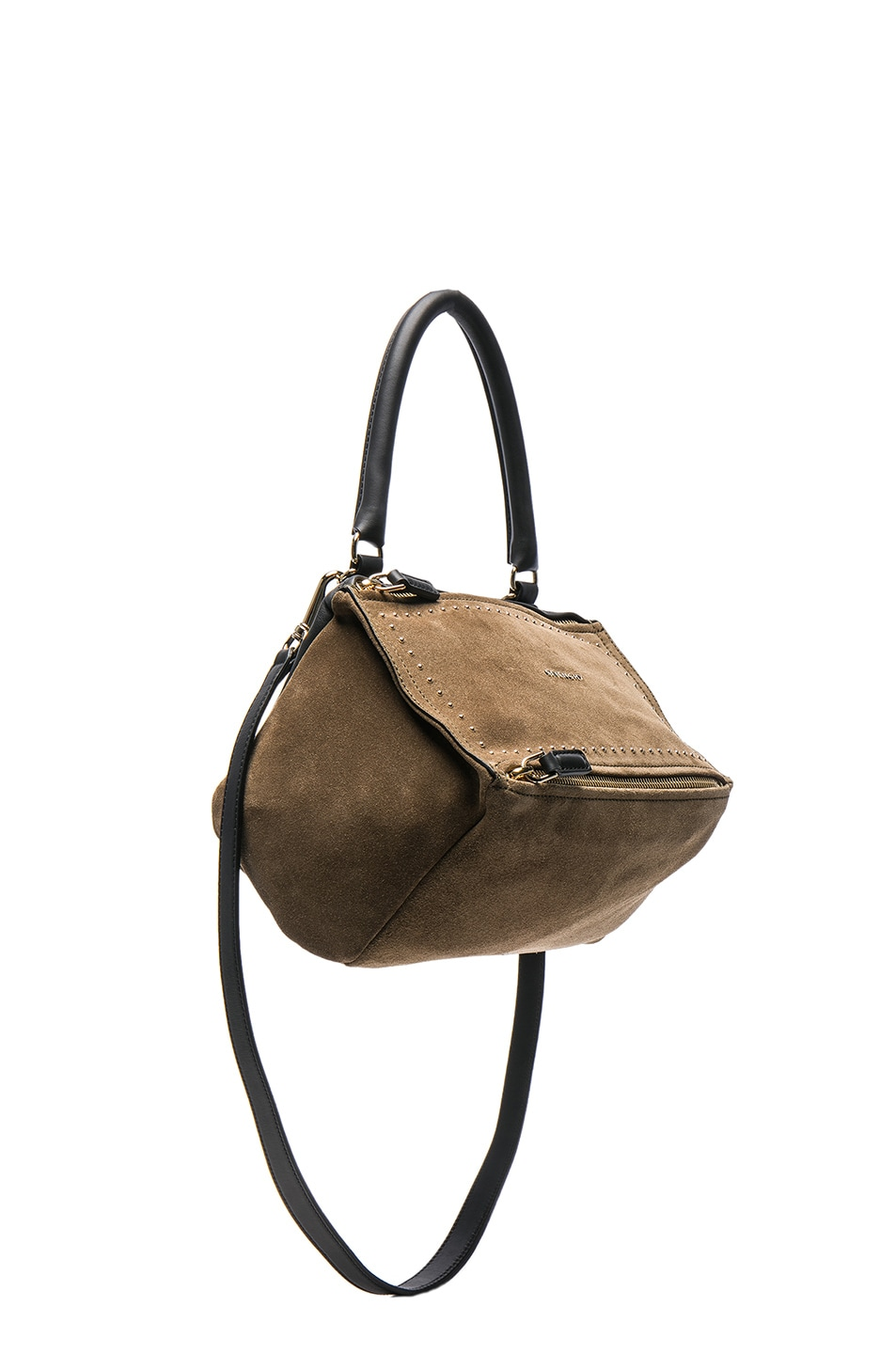 Image 1 of Givenchy Small Stud Detail Suede Pandora in Brown