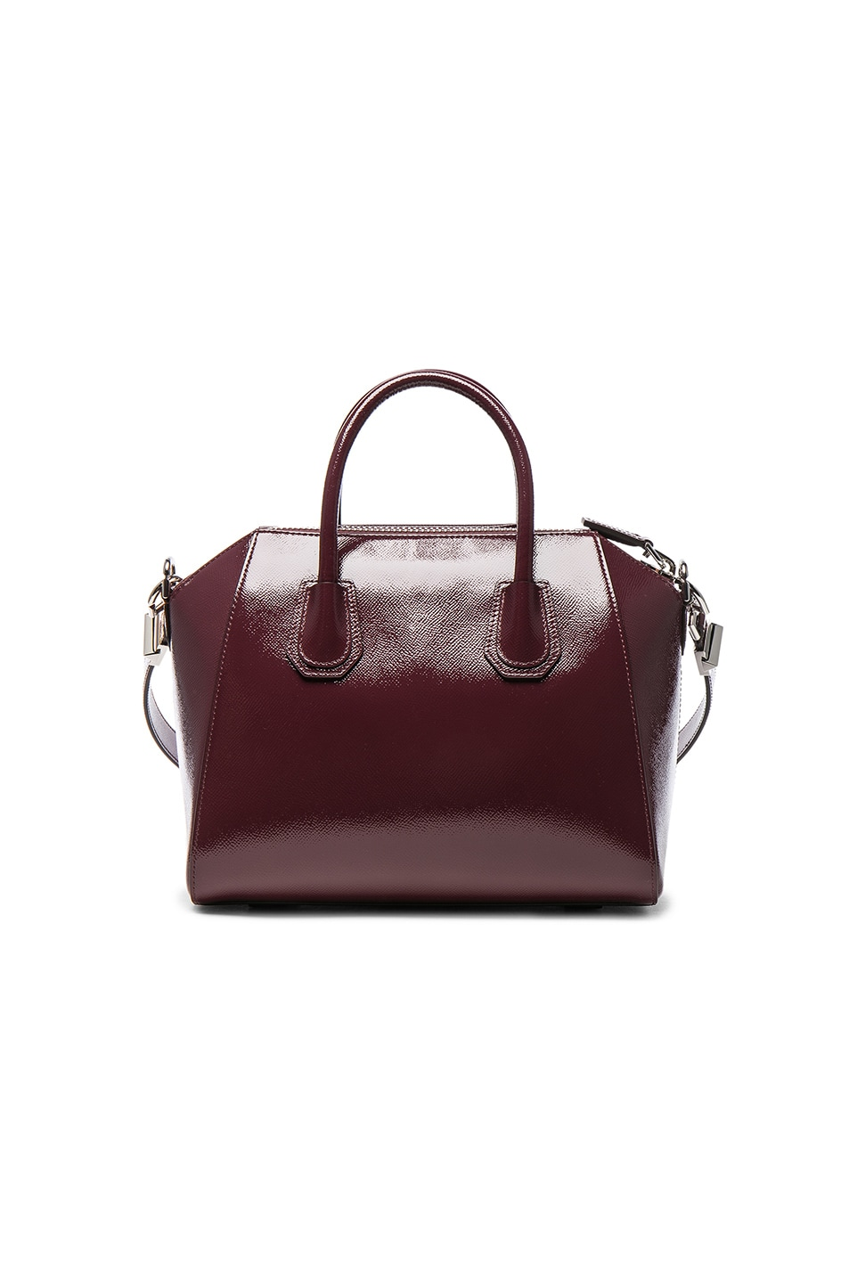 Image 2 of Givenchy Small Patent Leather Antigona in Burgundy