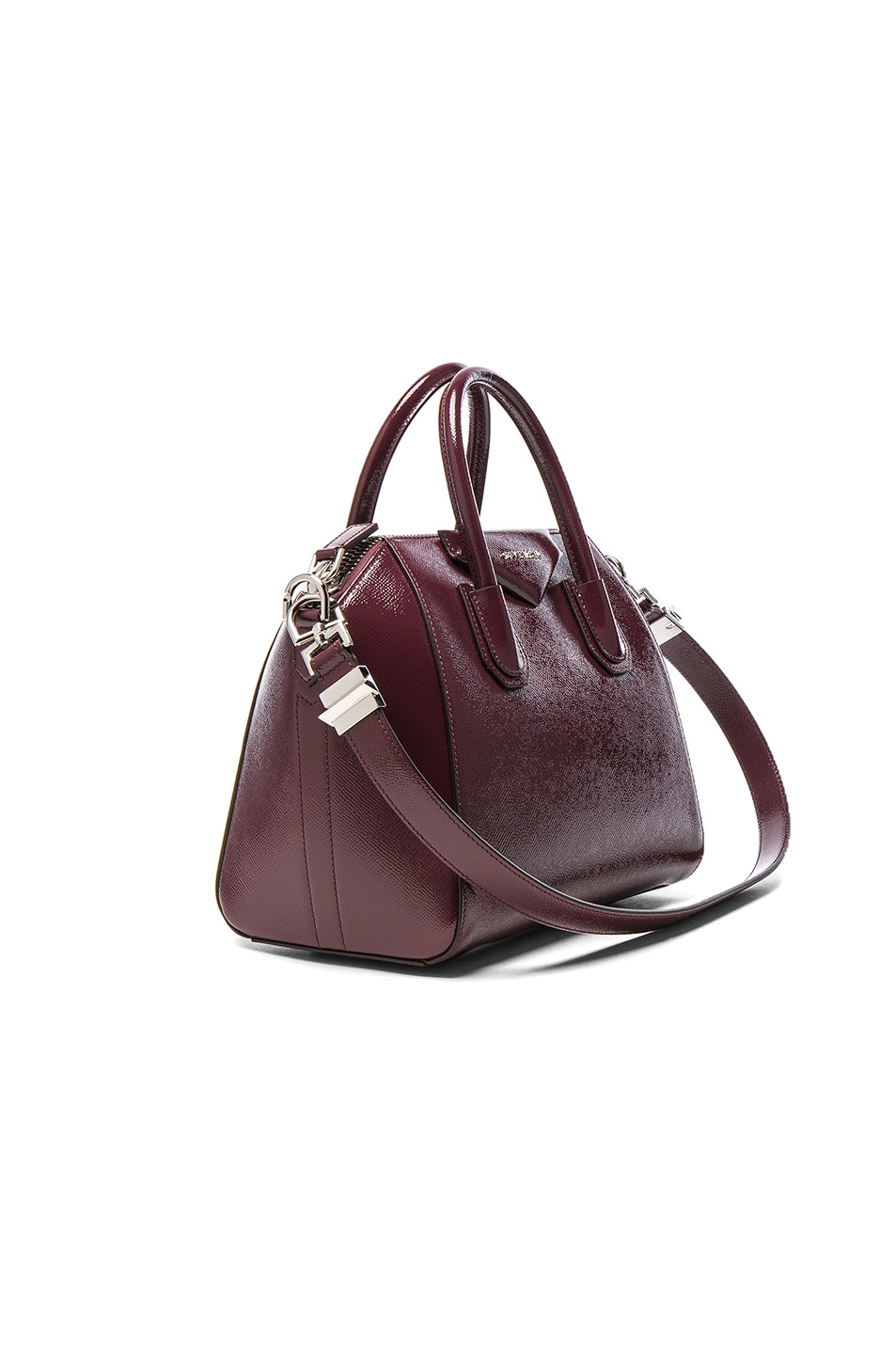 Image 3 of Givenchy Small Patent Leather Antigona in Burgundy