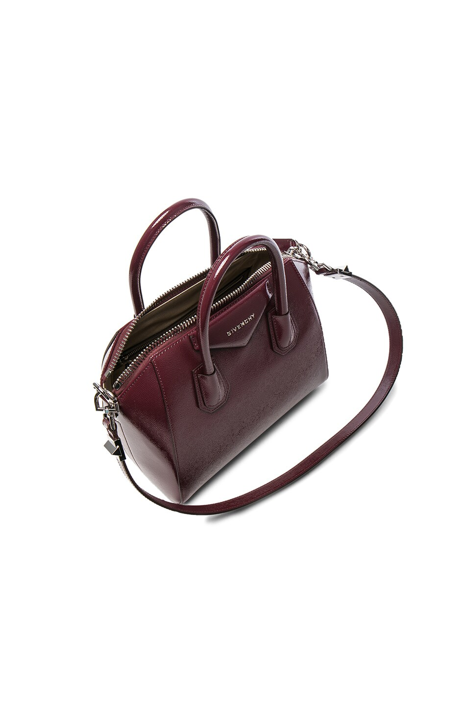 Image 4 of Givenchy Small Patent Leather Antigona in Burgundy