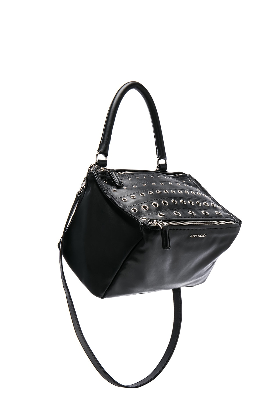 Image 1 of Givenchy Small Silver Stud Detail Leather Pandora in Black
