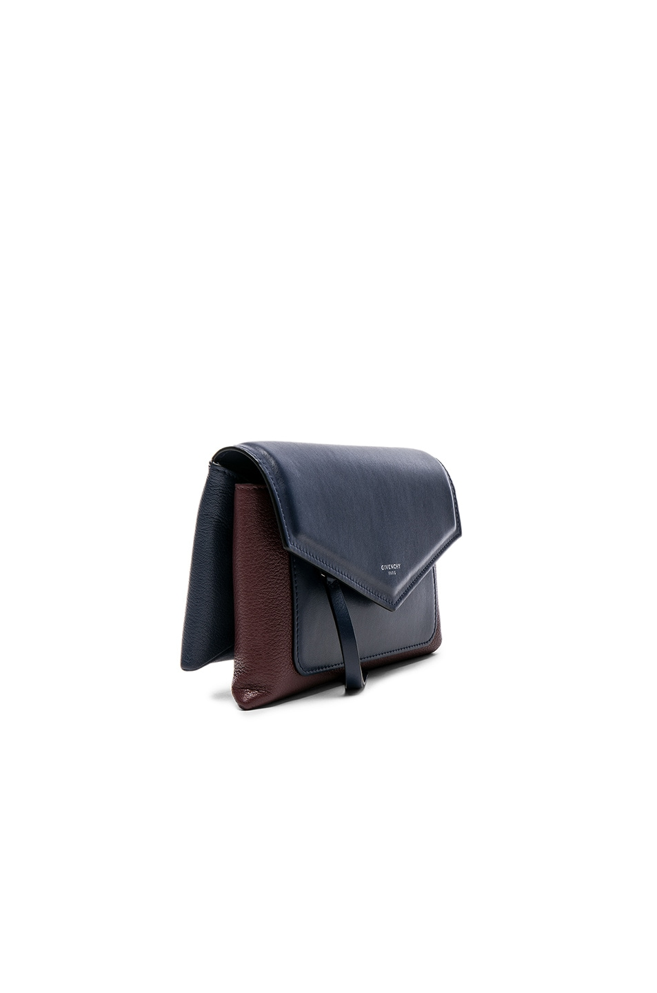 Image 3 of Givenchy Tri Color Duetto Crossbody Flap Bag in Burgundy & Navy