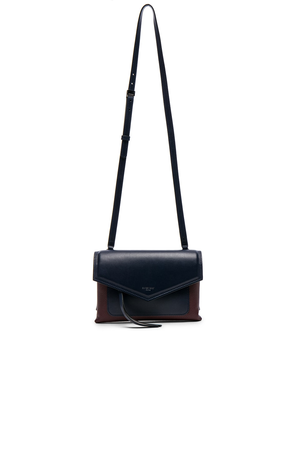 Image 5 of Givenchy Tri Color Duetto Crossbody Flap Bag in Burgundy & Navy