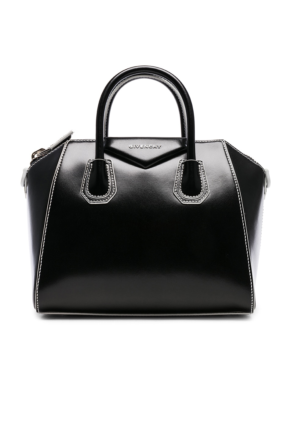 3351d0ccaf Image 1 of Givenchy Small Smooth Shiny Leather Antigona with White Details  in Black   White