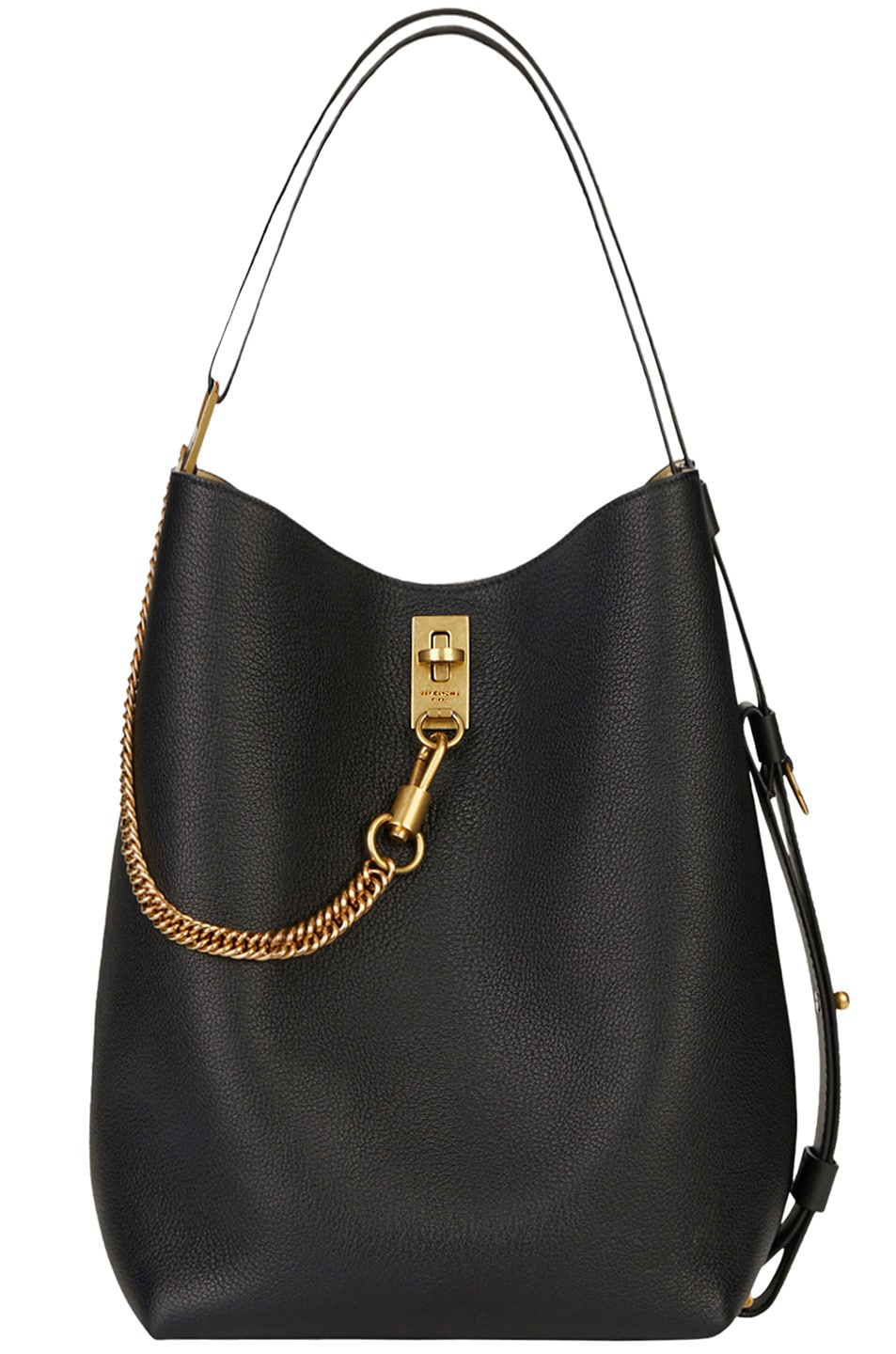 Image 1 of Givenchy Medium Leather GV Bucket Bag in Black