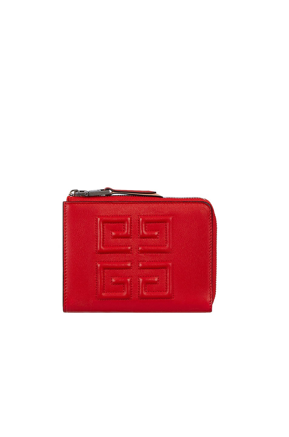 Image 1 of Givenchy Medium Emblem Zip Wallet in Poppy Red