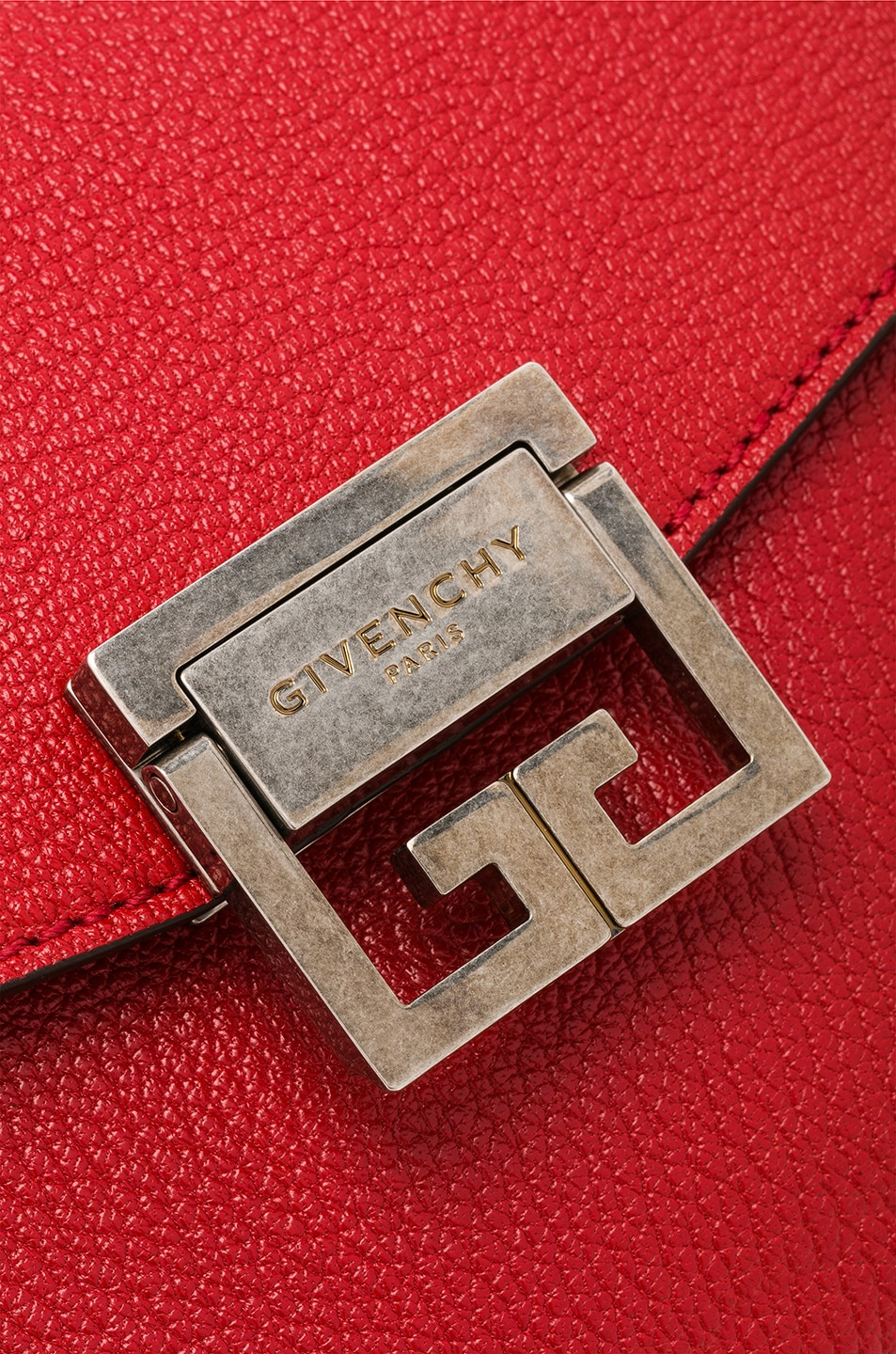 Image 8 of Givenchy Small Leather GV3 in Bright Red