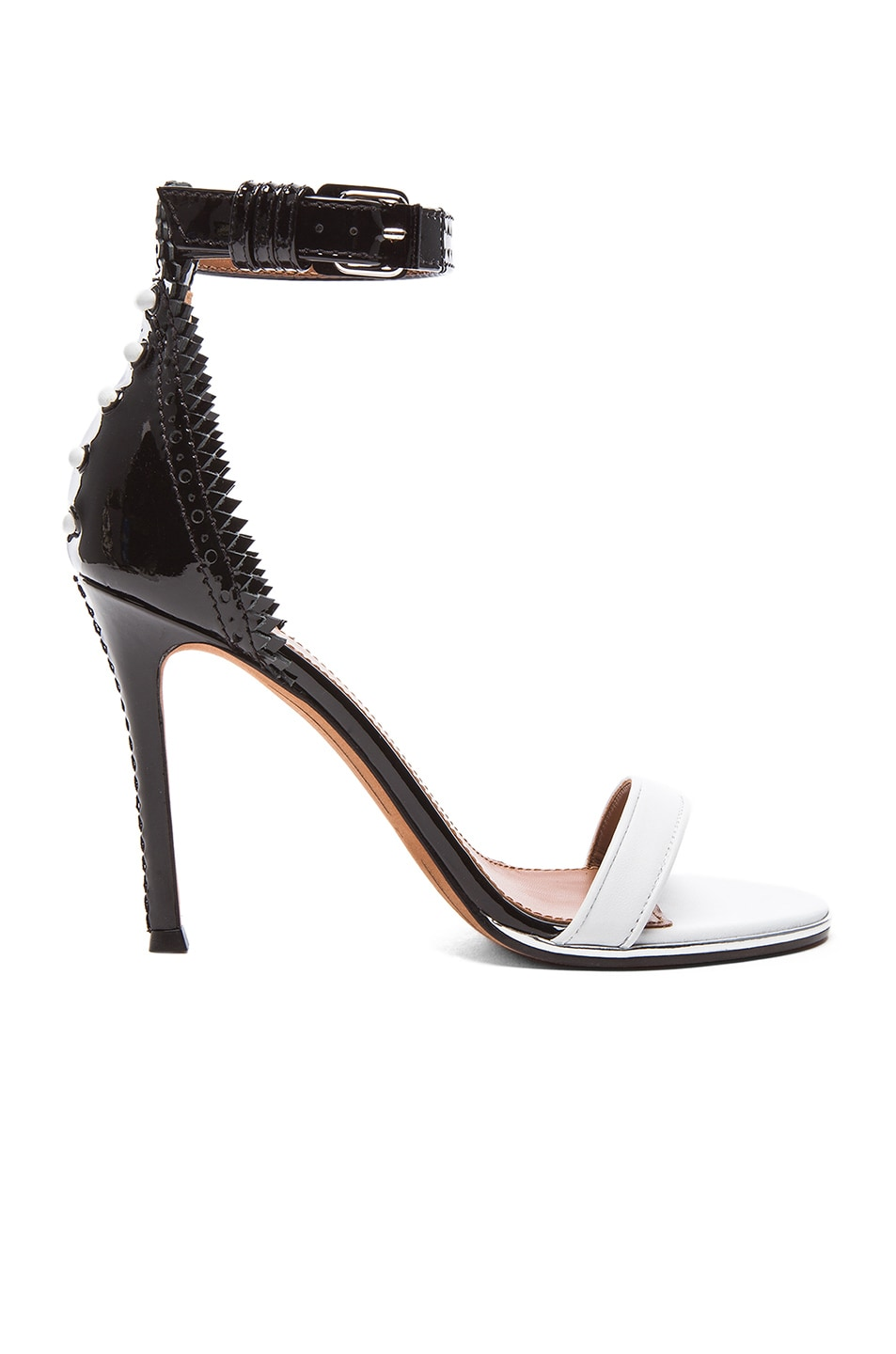 Image 1 of GIVENCHY Lace Back Patent Leather Sandals in Black & White