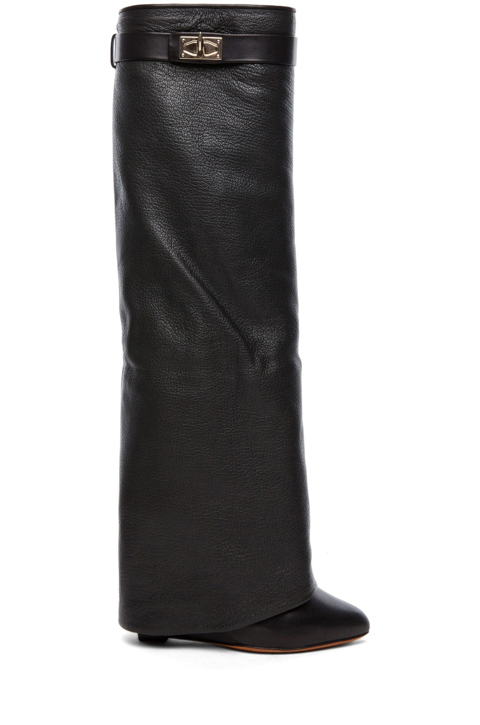 Image 1 of Givenchy Shark Lock Fold Over Wedge Boots in Black