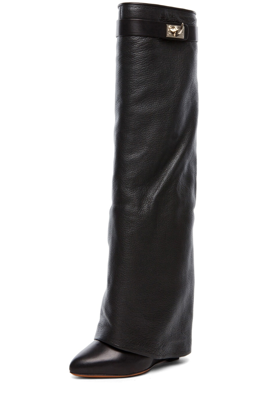 Image 2 of Givenchy Shark Lock Fold Over Wedge Boots in Black