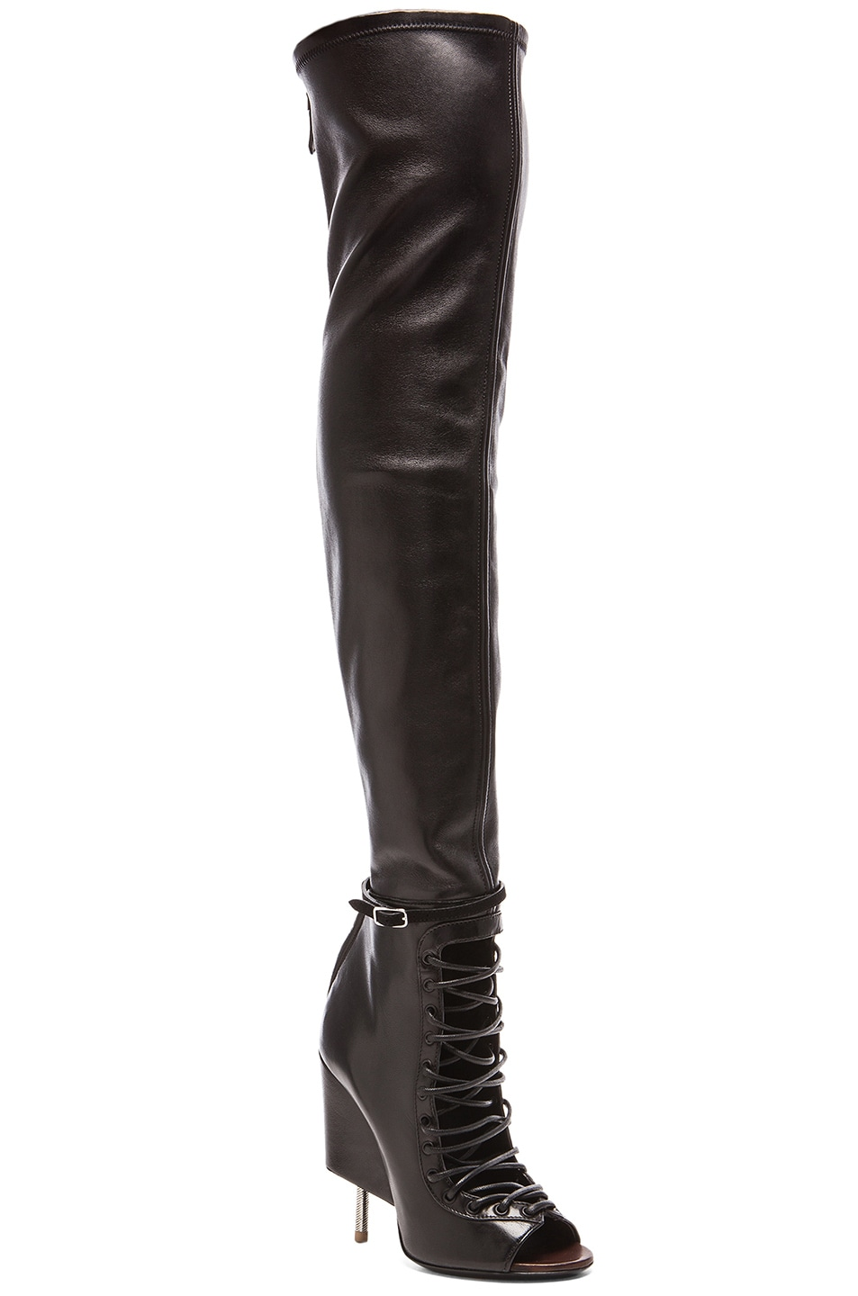 Image 2 of Givenchy Lace Up Runway Leather Boots in Black