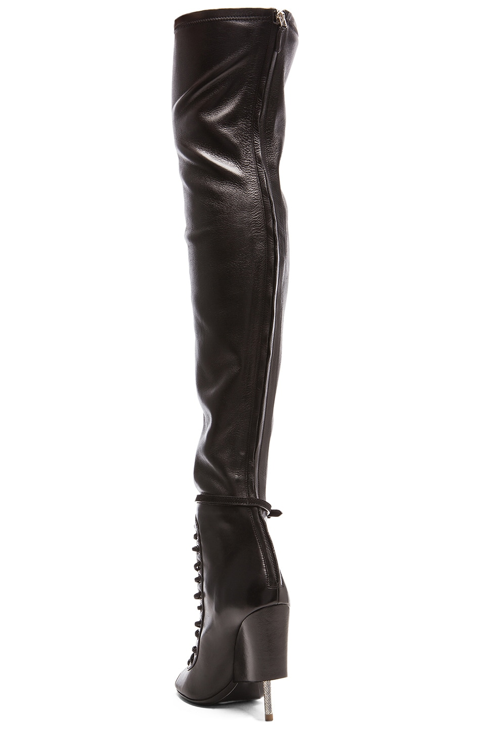 Image 3 of Givenchy Lace Up Runway Leather Boots in Black