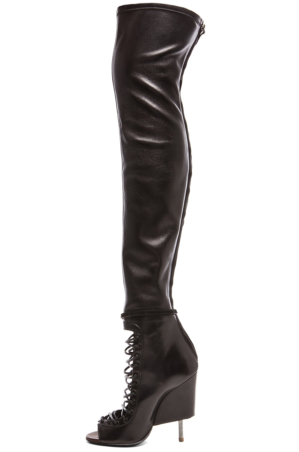Image 5 of Givenchy Lace Up Runway Leather Boots in Black