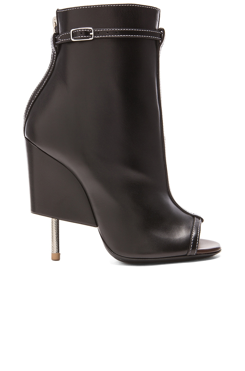 Image 1 of GIVENCHY Open Toe Runway Leather Booties in Black