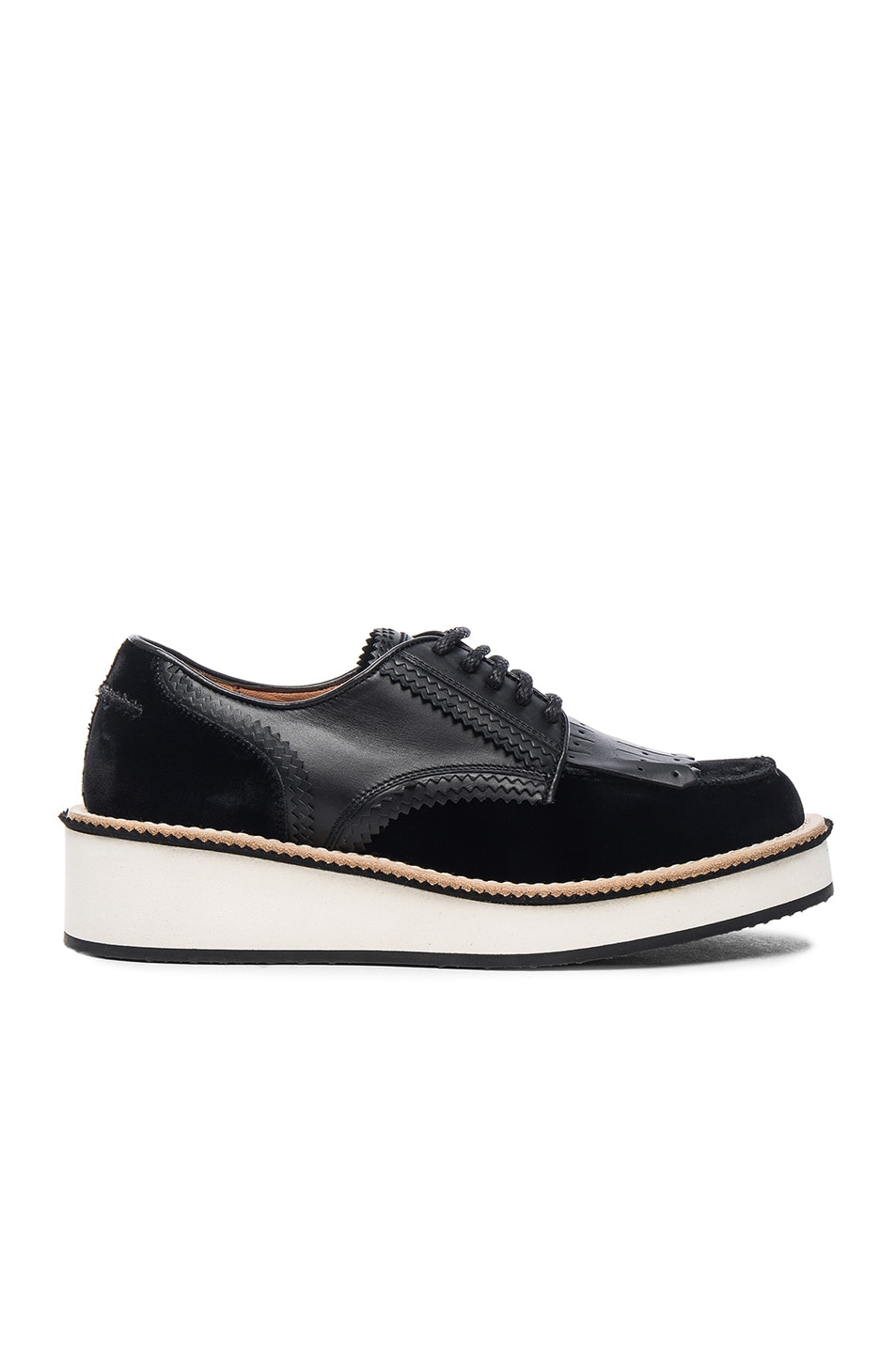 Image 1 of Givenchy Pavina Rottweiler Leather & Velvet Derbies in Black