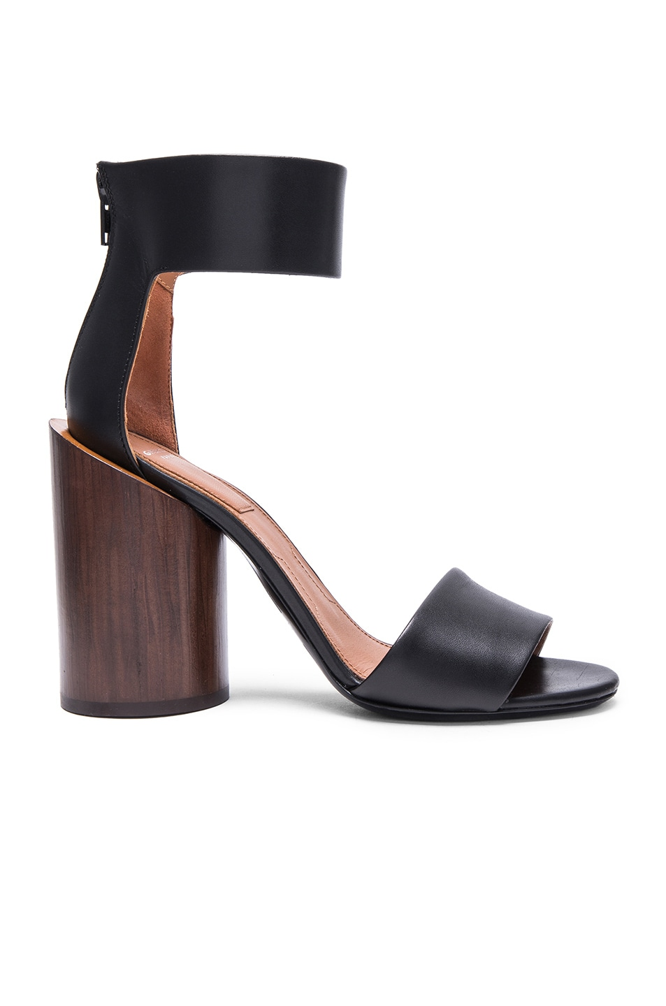 b3010d22521 Image 1 of Givenchy Polly Shiny Leather Sandals with Wood Heel in Black    Brown
