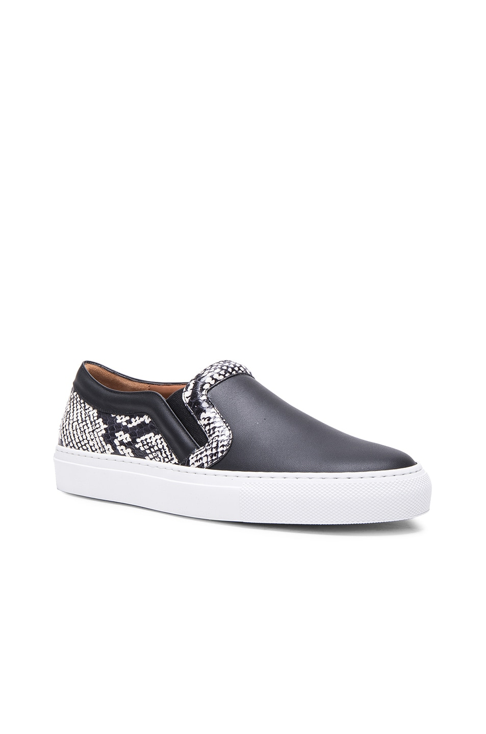 Image 2 of Givenchy Low Skate Elaphe Sneakers in Black & White
