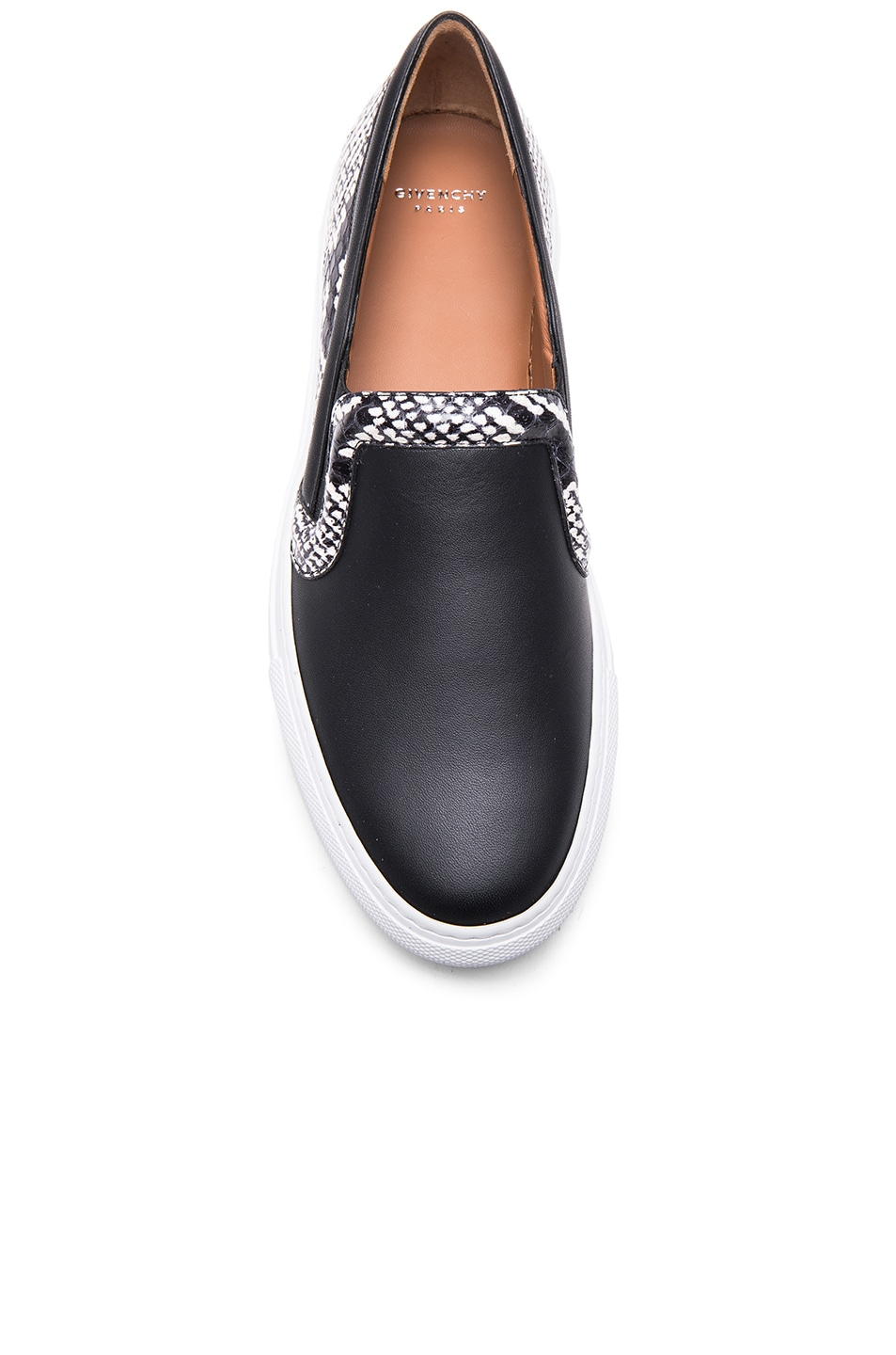 Image 4 of Givenchy Low Skate Elaphe Sneakers in Black & White