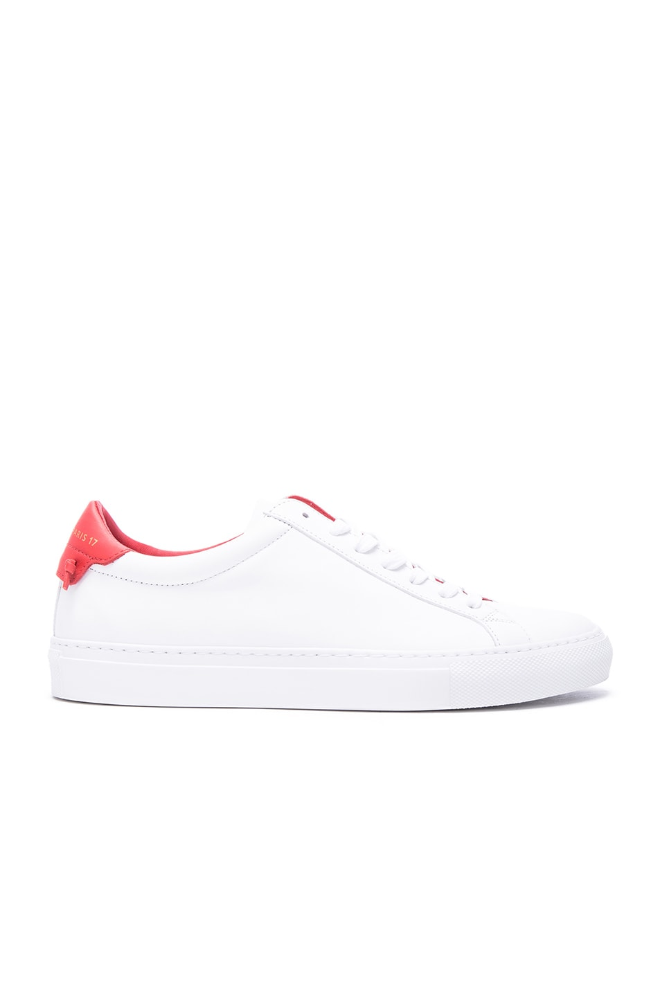 84e4e128413 Image 1 of Givenchy Knots Leather Low Sneakers in White   Red