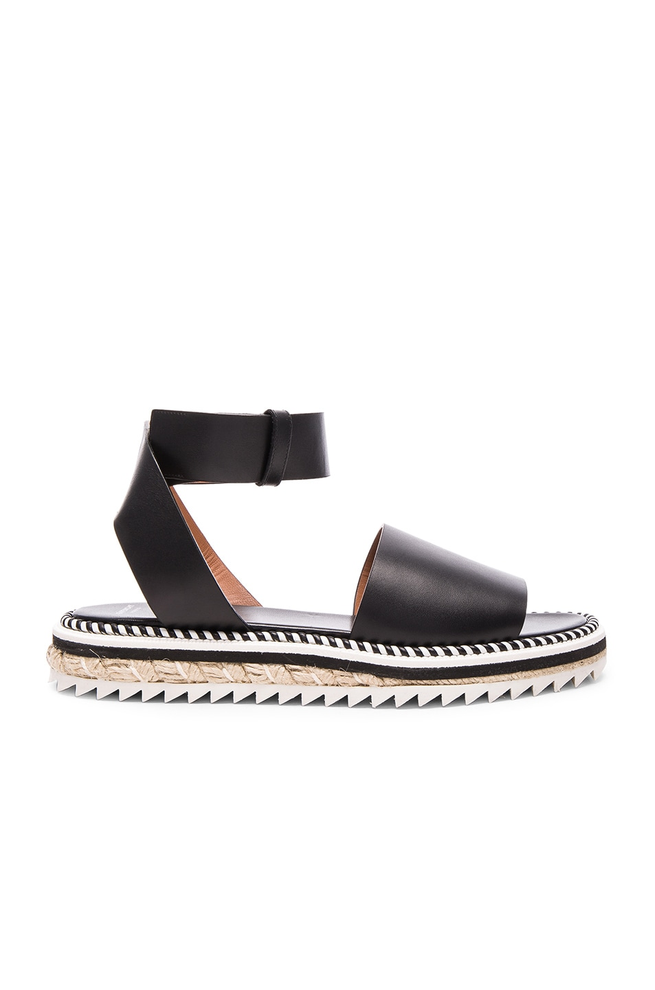 Image 1 of Givenchy Leather Rodha Flat Sandals in Black