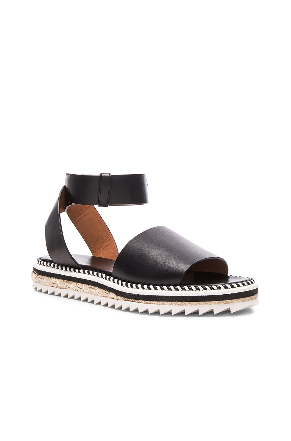 Image 2 of Givenchy Leather Rodha Flat Sandals in Black