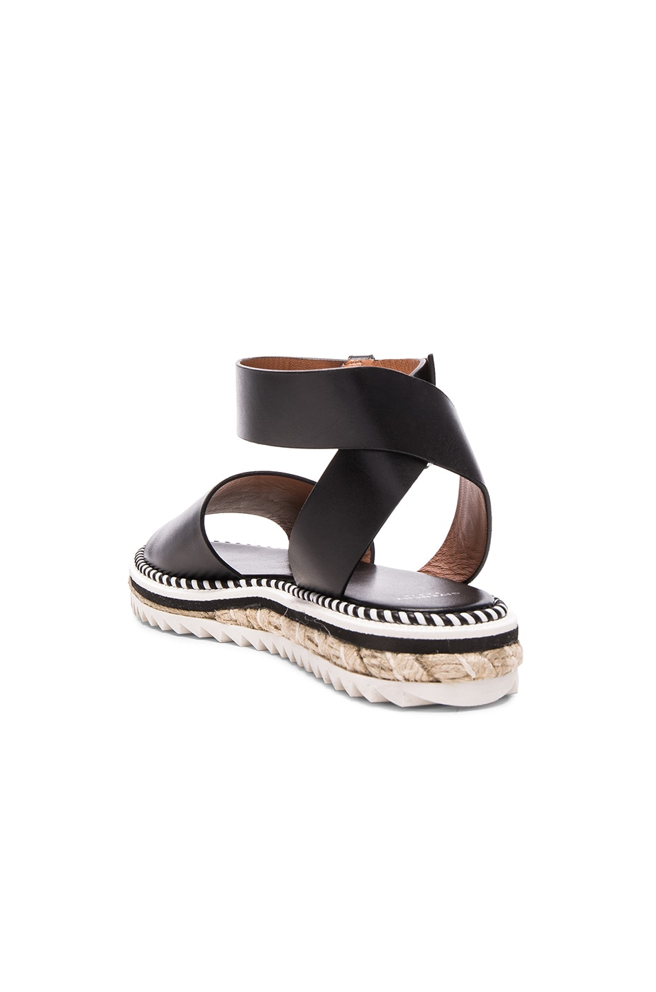 Image 3 of Givenchy Leather Rodha Flat Sandals in Black