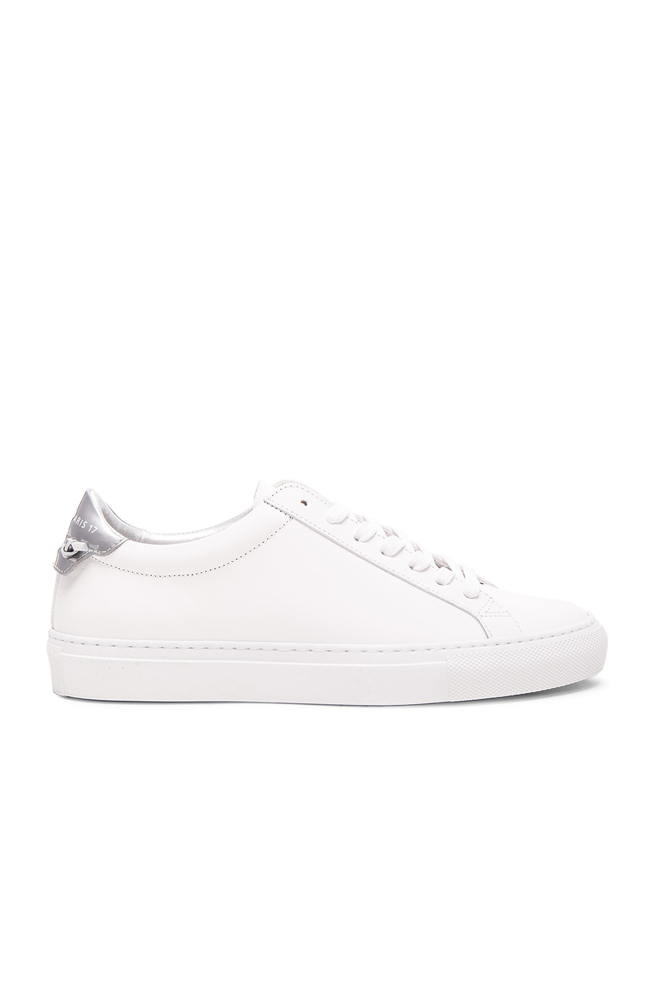 Image 1 of Givenchy Leather Urban Knots Low Sneakers in White & Silver
