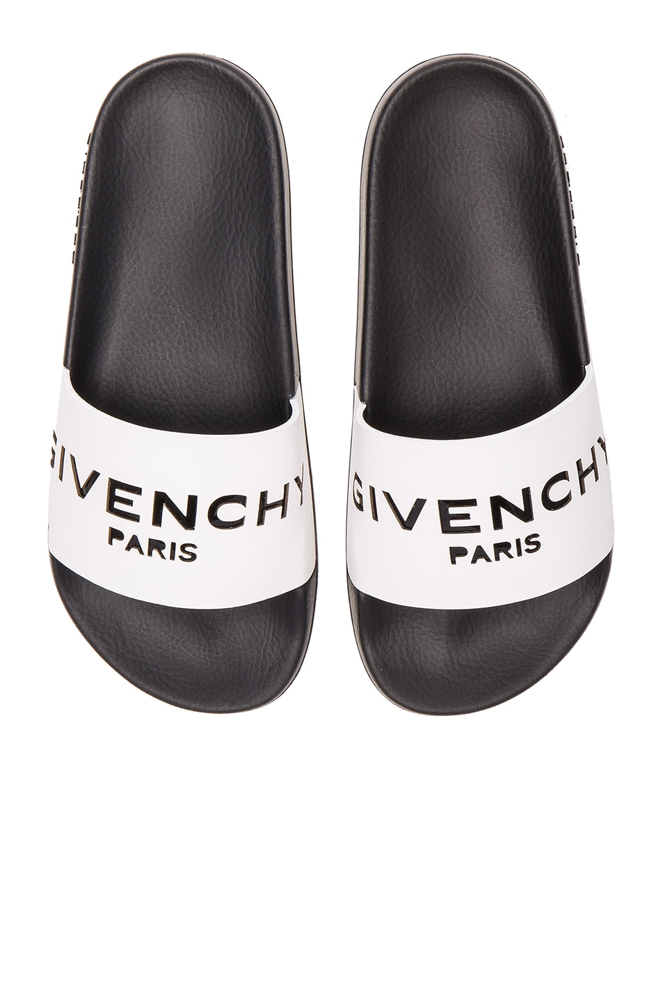 f5c346b43951d Image 1 of Givenchy Leather Logo Slide Sandals in White