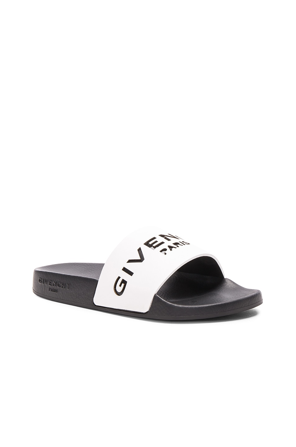 Image 3 of Givenchy Leather Logo Slide Sandals in White