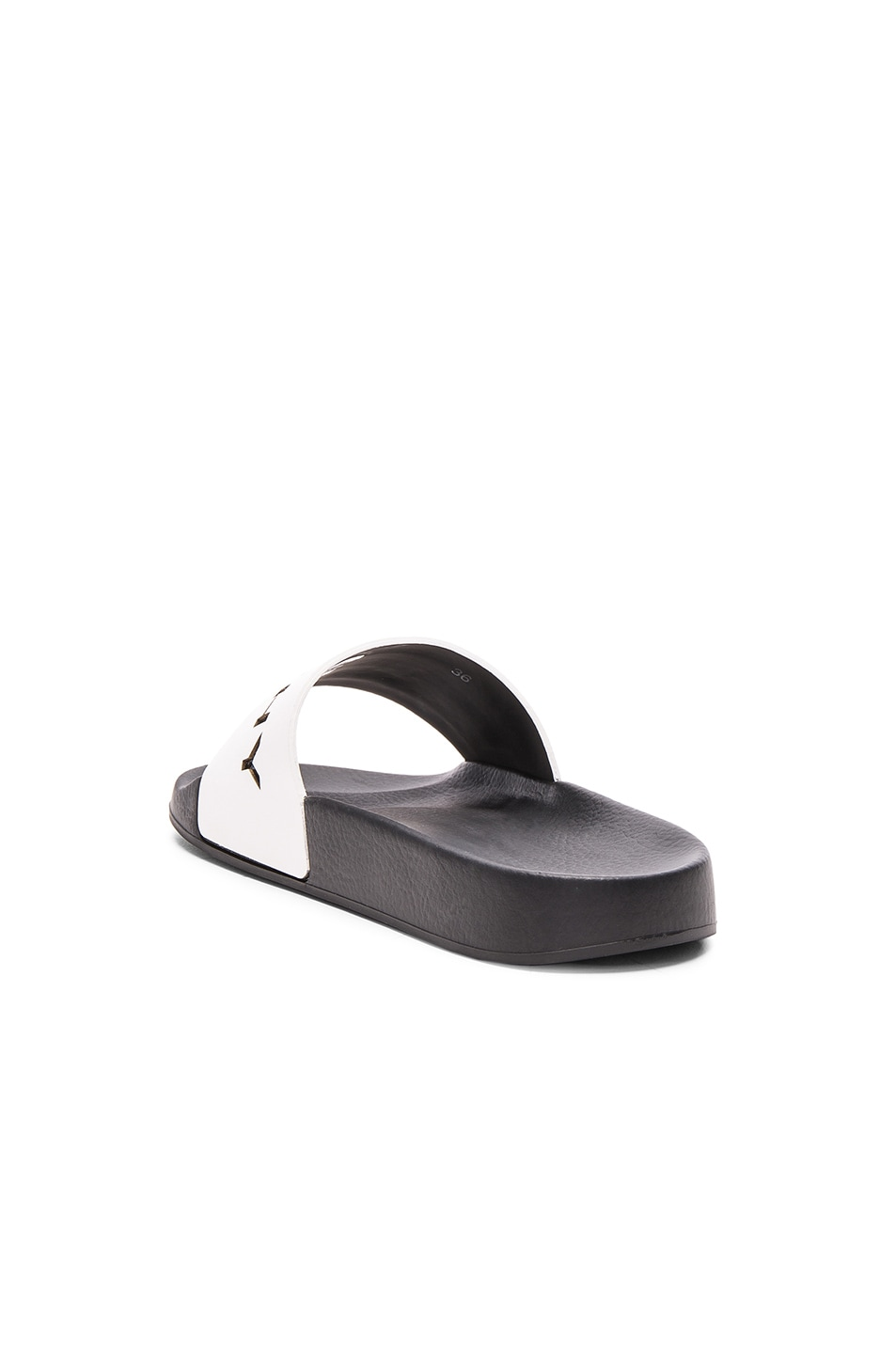 Image 4 of Givenchy Leather Logo Slide Sandals in White