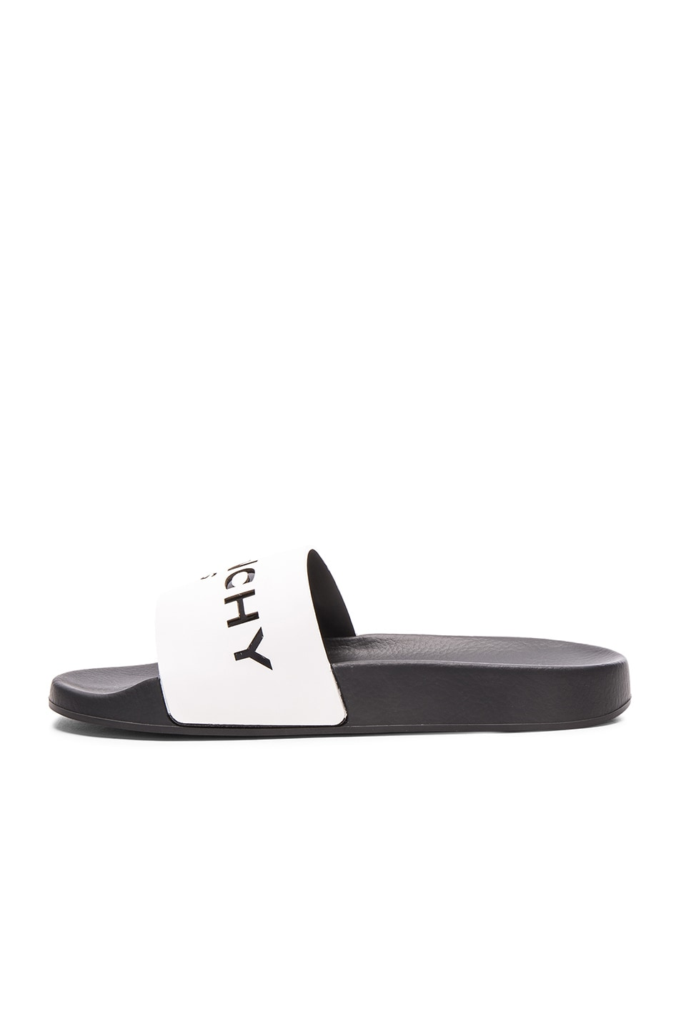 Image 5 of Givenchy Leather Logo Slide Sandals in White