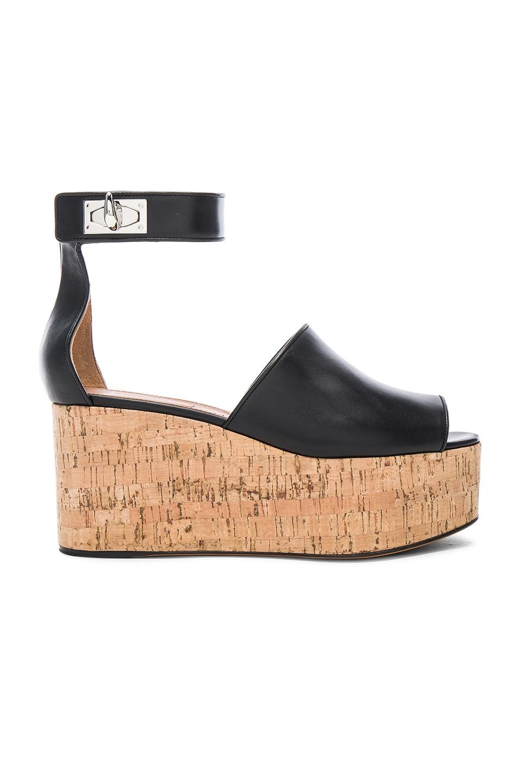 Image 1 of Givenchy Shark Cork Platform Leather Sandals in Black