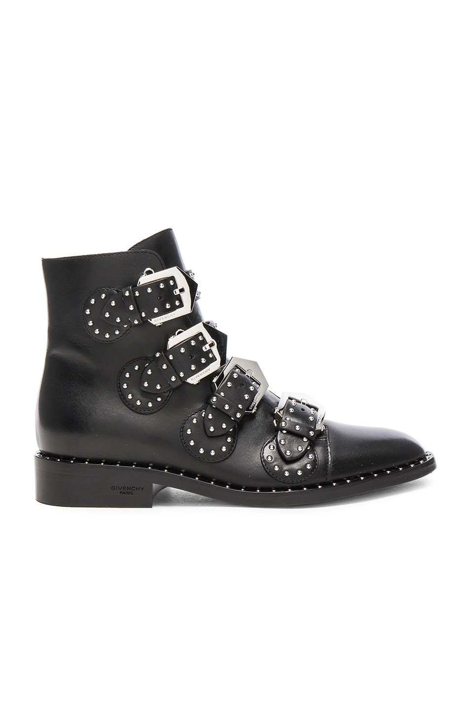Image 1 of Givenchy Elegant Studded Leather Ankle Boots in Black
