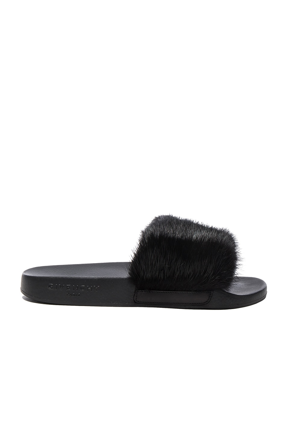 Mink Fur & Rubber Slide Sandal, Black