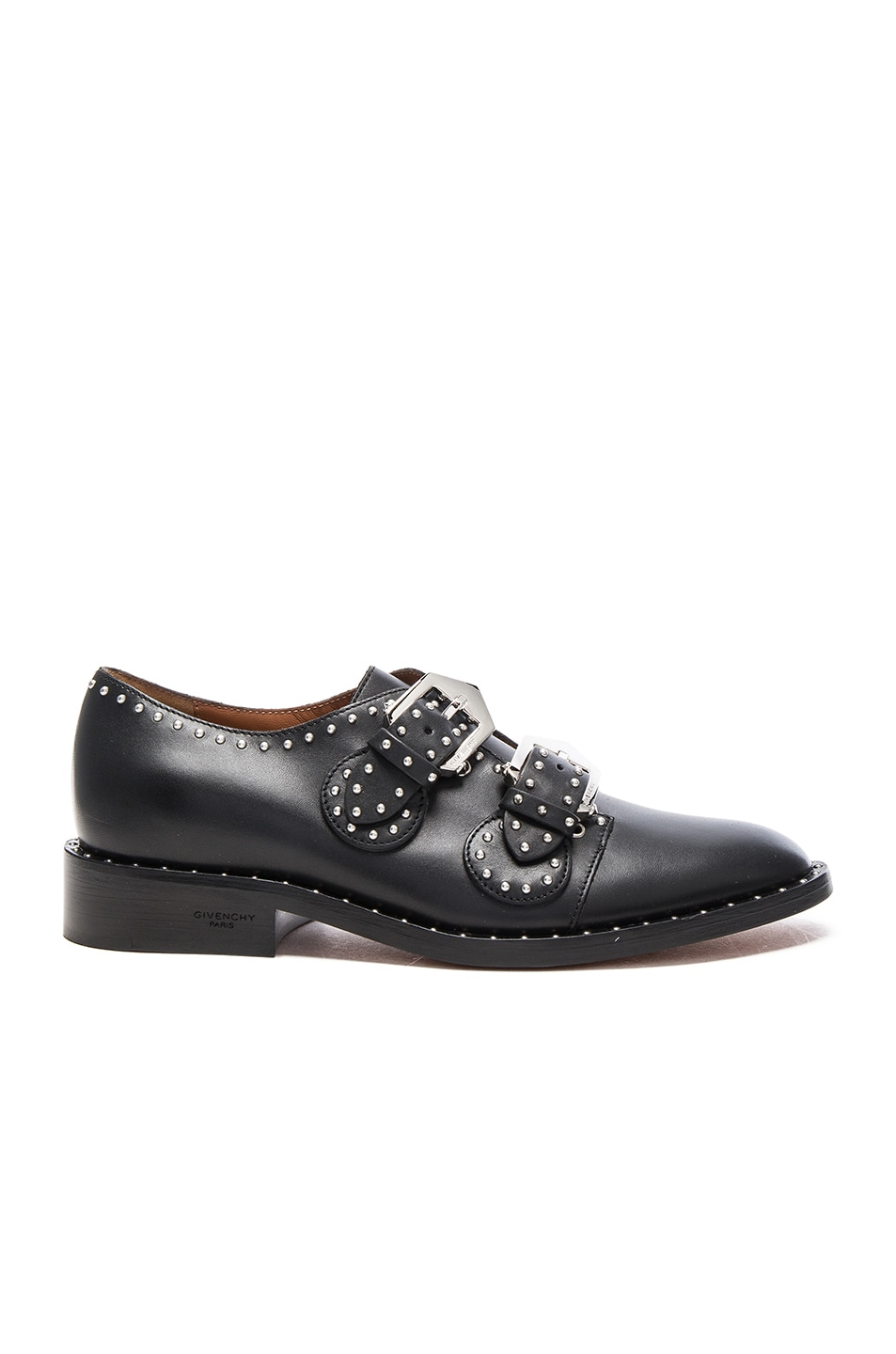 Image 1 of Givenchy Elegant Leather Monk Strap Oxfords in Black
