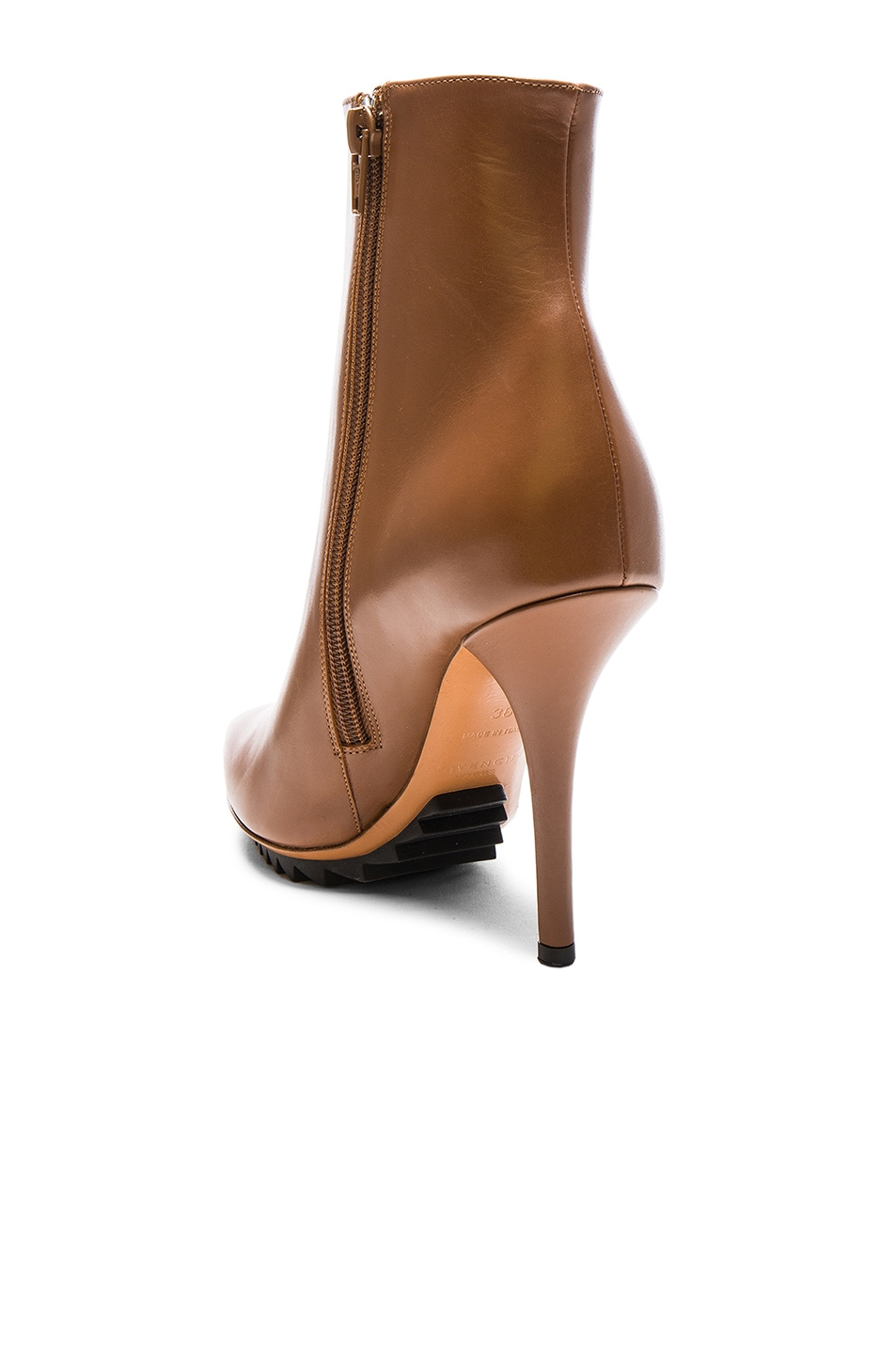 Image 3 of Givenchy Iron Ankle Leather Booties in Camel