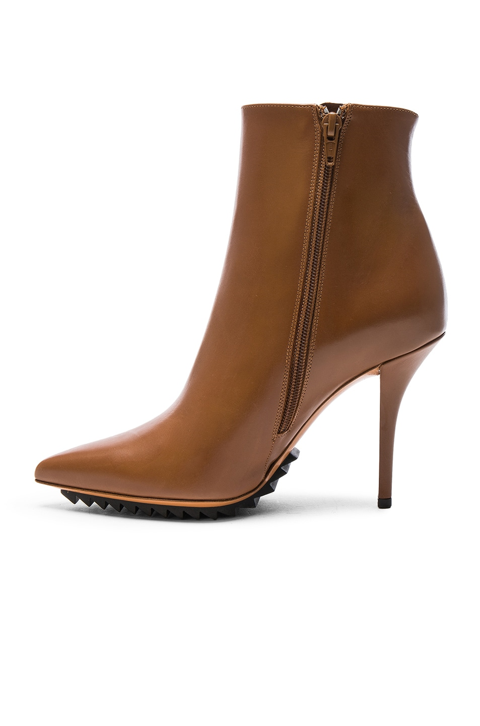 Image 5 of Givenchy Iron Ankle Leather Booties in Camel