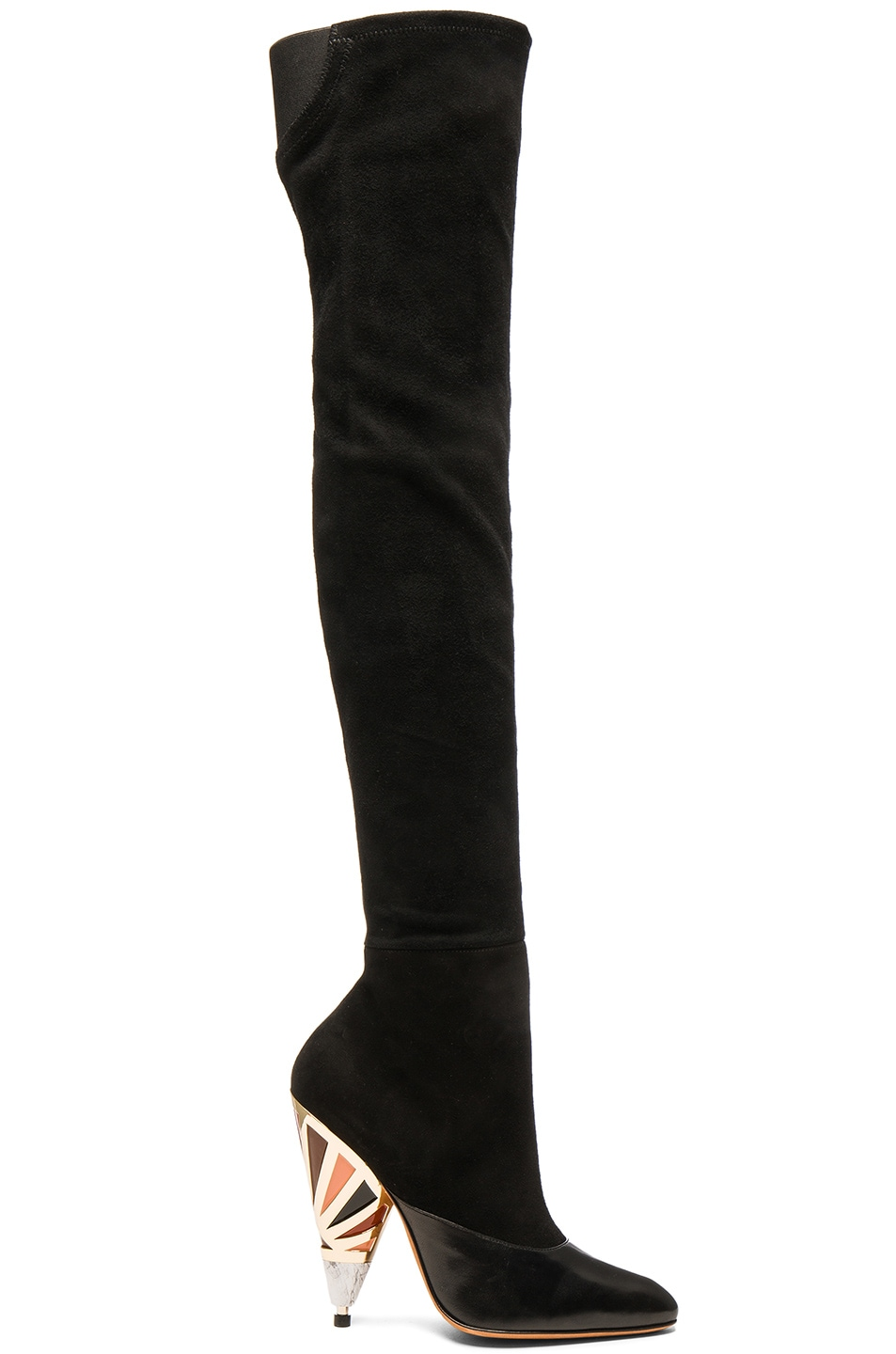 Image 1 of Givenchy Multicolor Heel Suede Over the Knee Boots in Black