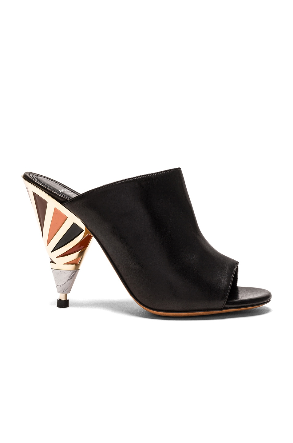Image 1 of Givenchy Leather Multicolor Heel Mules in Black