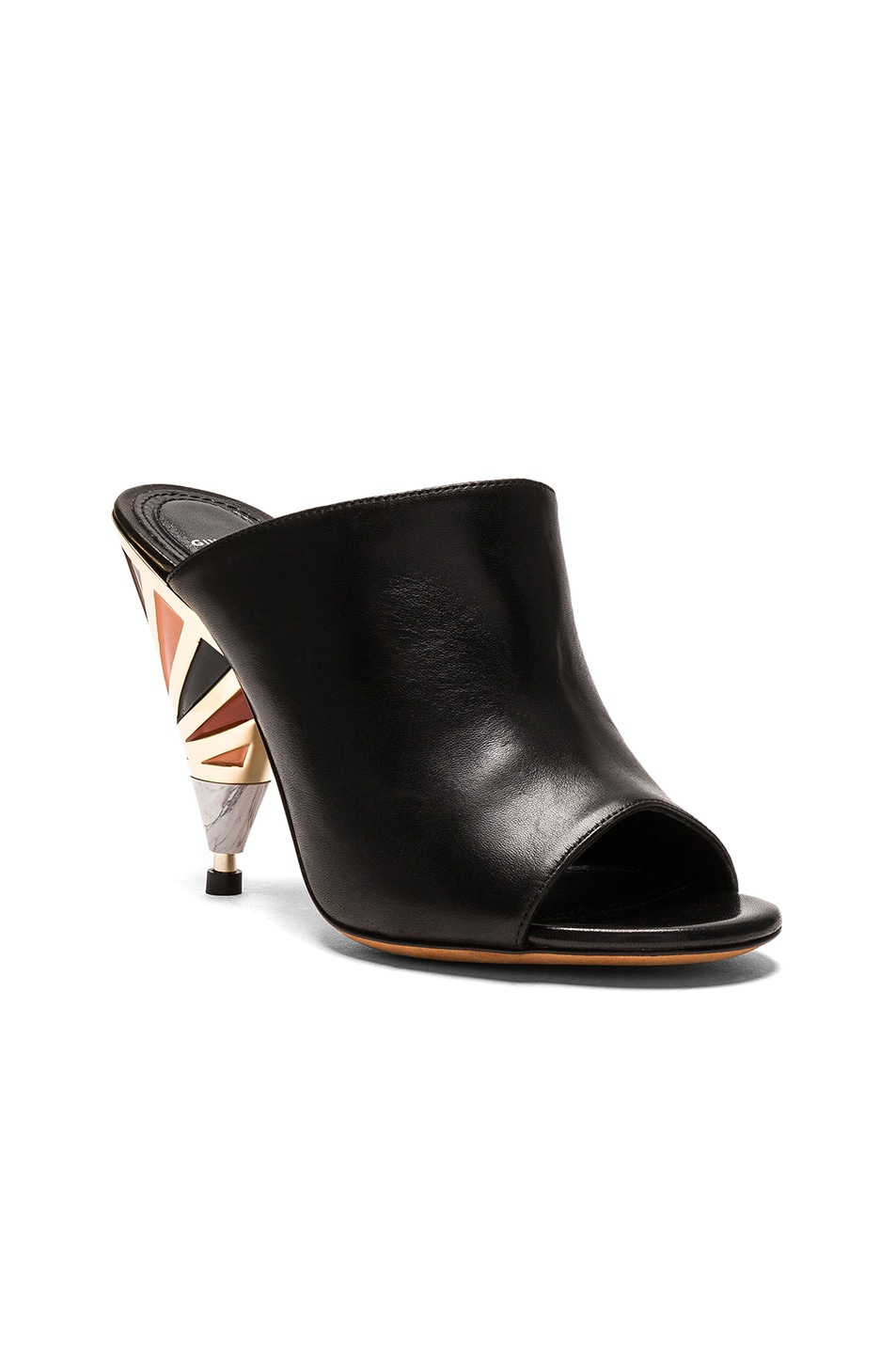 Image 2 of Givenchy Leather Multicolor Heel Mules in Black