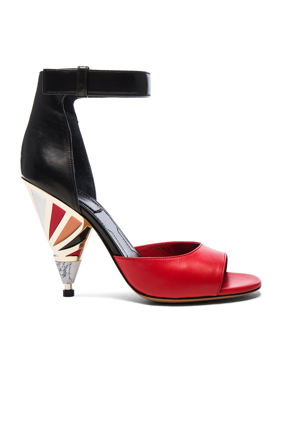 Image 1 of Givenchy Leather Multicolor Heels in Black & Red