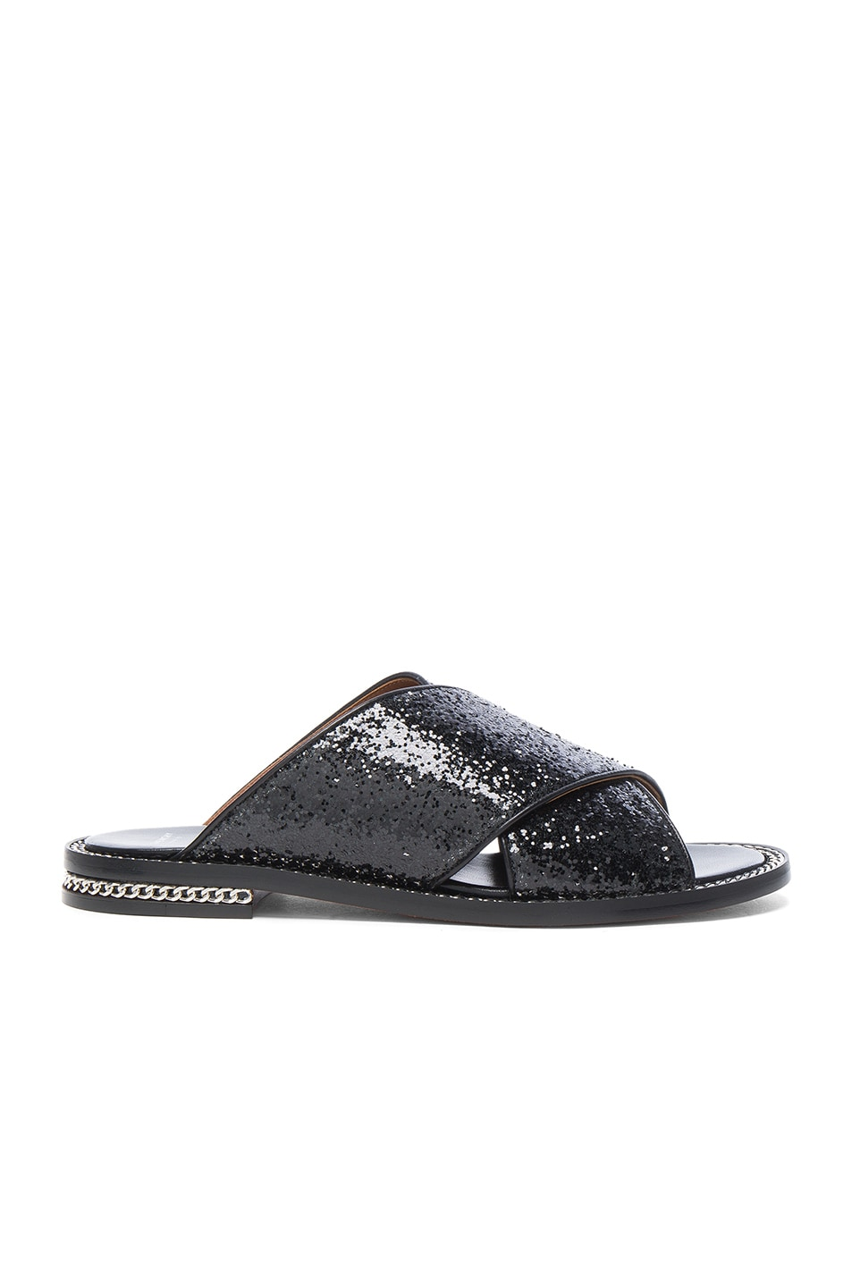 Image 1 of Givenchy Crisscross Glitter Sandal in Black