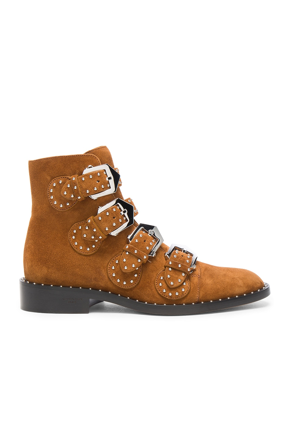 Image 1 of Givenchy Elegant Studded Suede Ankle Boots in Caramel