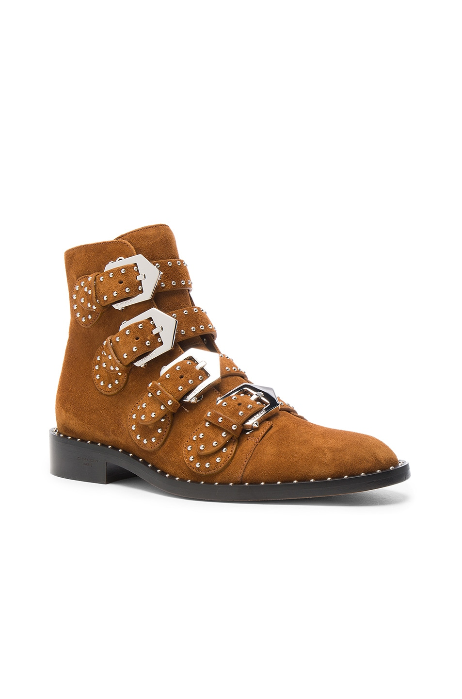 Image 2 of Givenchy Elegant Studded Suede Ankle Boots in Caramel